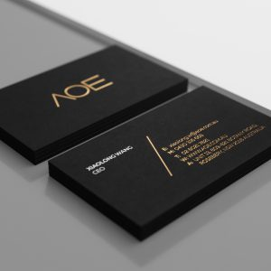 identity design AOE business cards